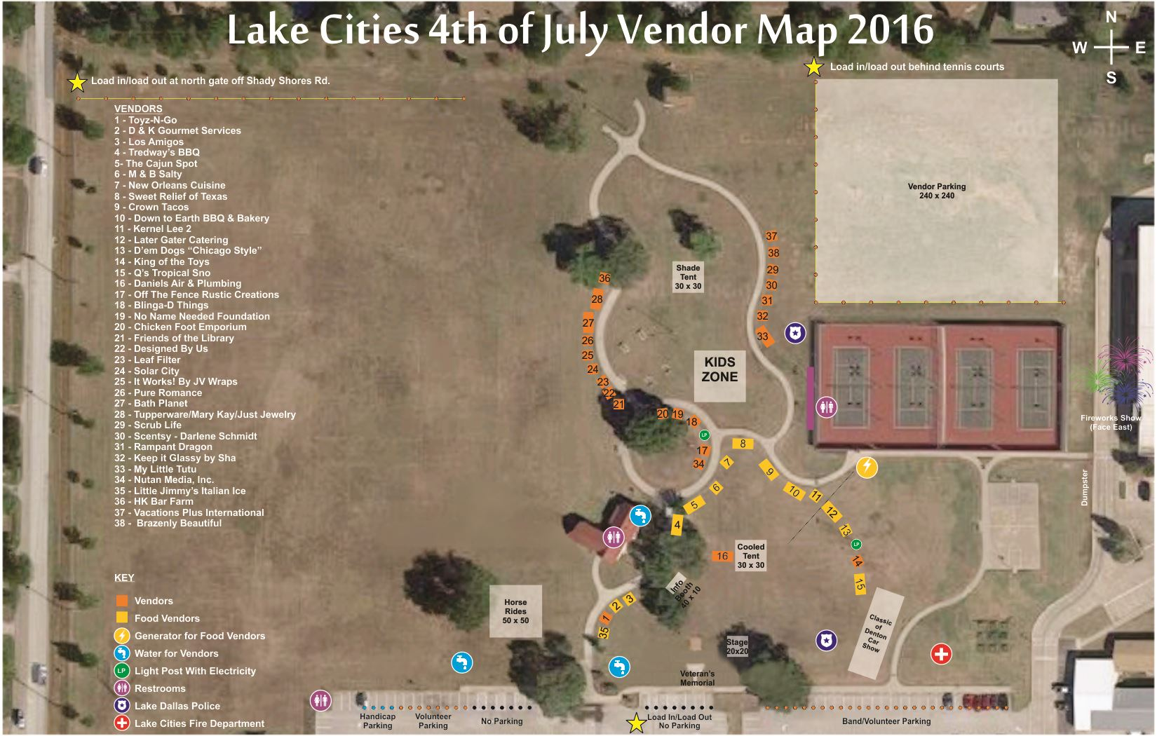 4th of July Vendor Map 2016