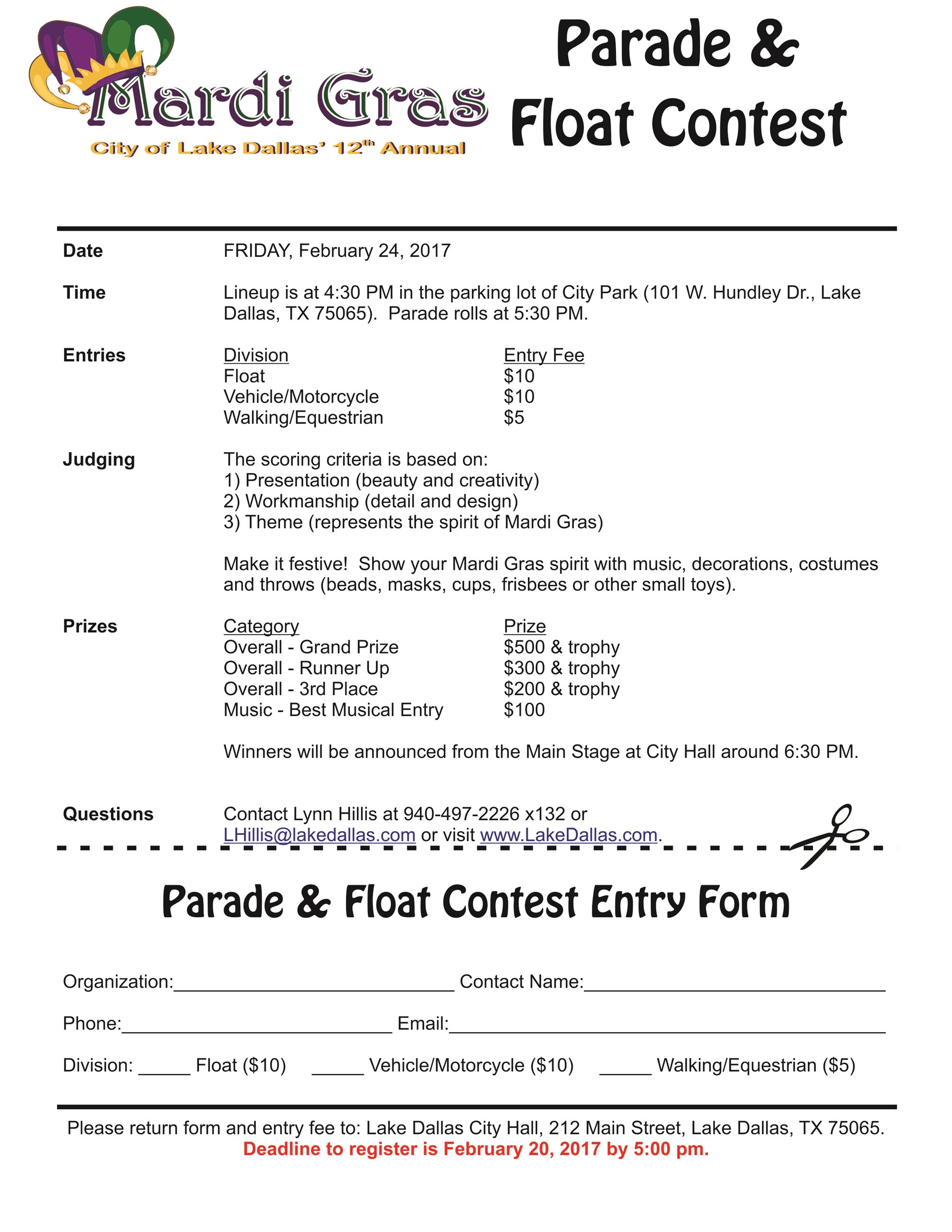 MG Parade Entry Form 2017